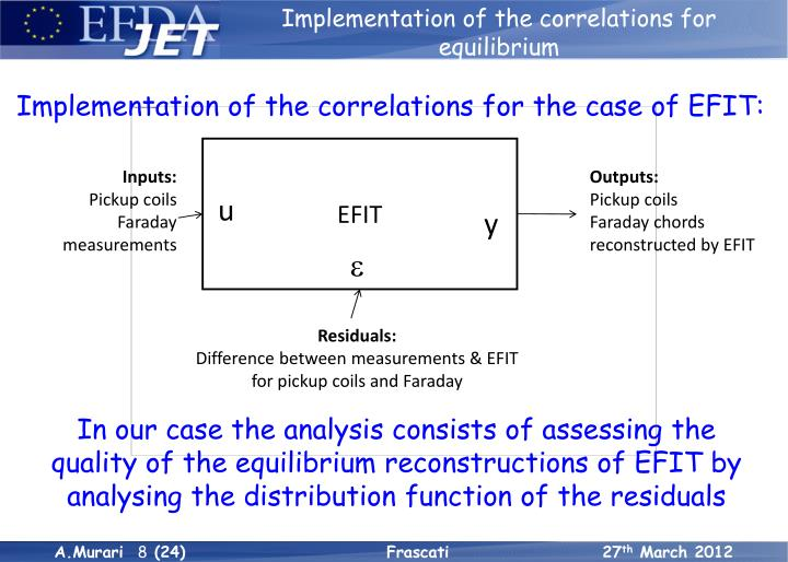 Implementation of the correlations for equilibrium