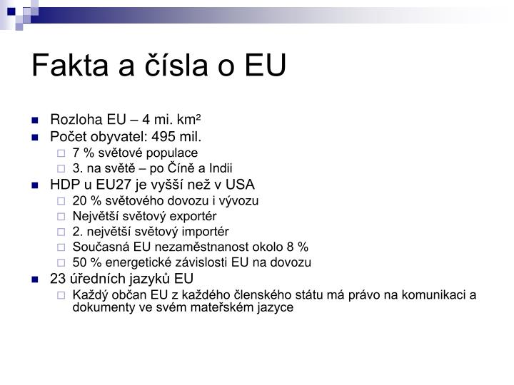 Fakta a čísla o EU