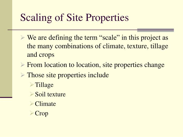 Scaling of Site Properties