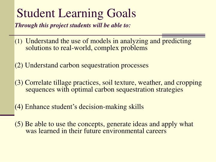 Student learning goals