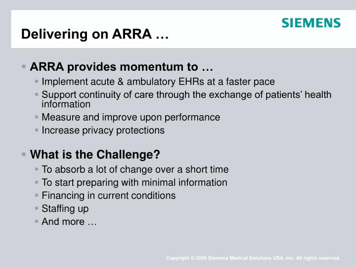 Delivering on ARRA …
