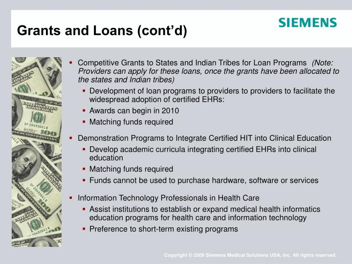 Grants and Loans (cont'd)