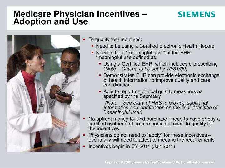 Medicare Physician Incentives – Adoption and Use