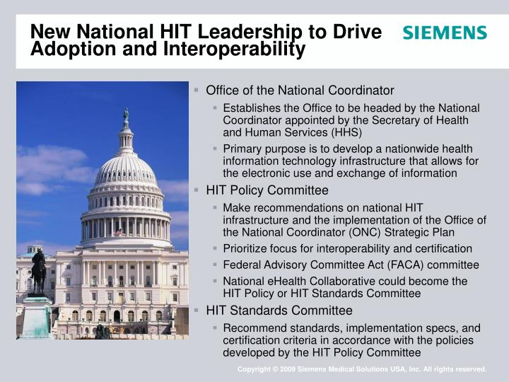 New National HIT Leadership to Drive Adoption and Interoperability