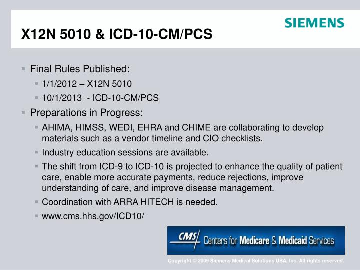 X12N 5010 & ICD-10-CM/PCS