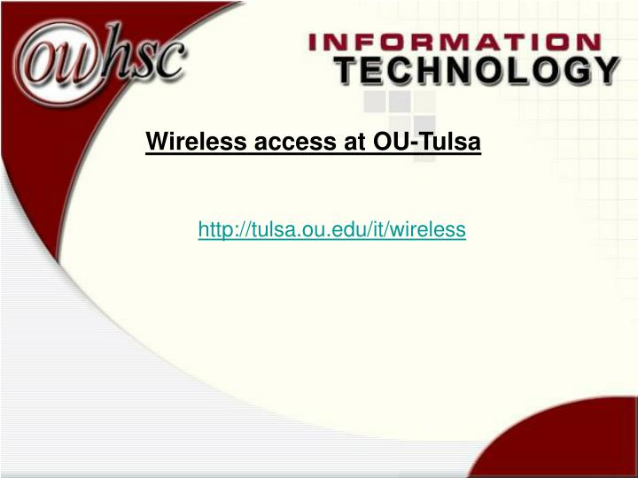 Wireless access at OU-Tulsa