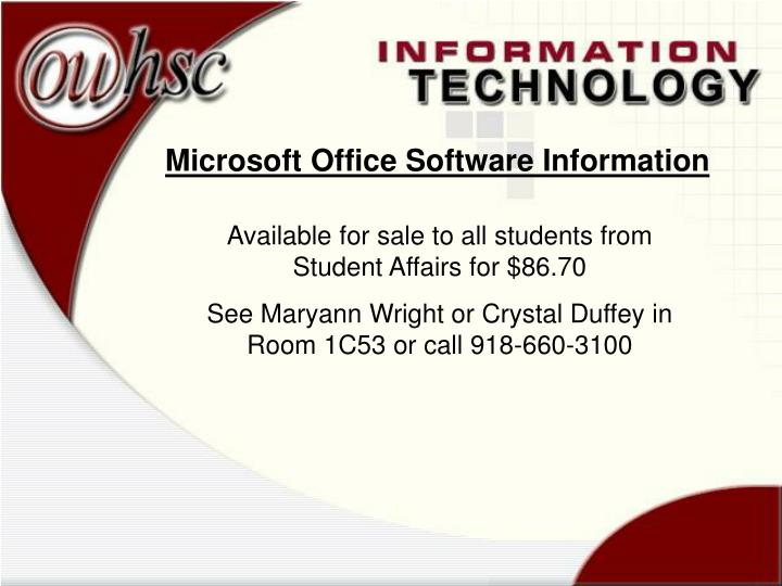 Microsoft Office Software Information