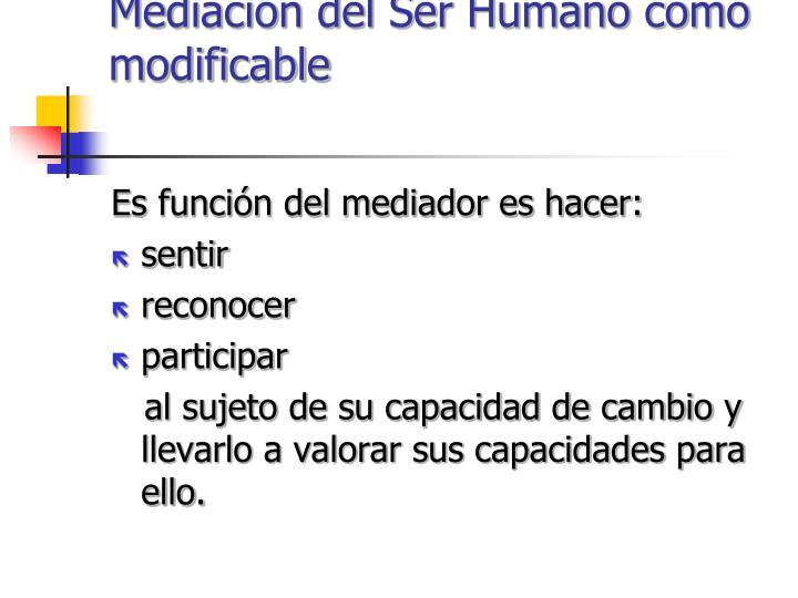 Mediación del Ser Humano como modificable