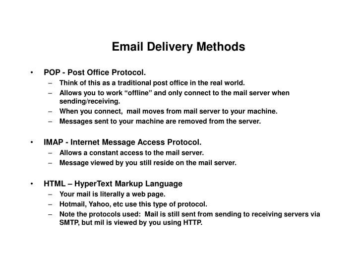 Email Delivery Methods