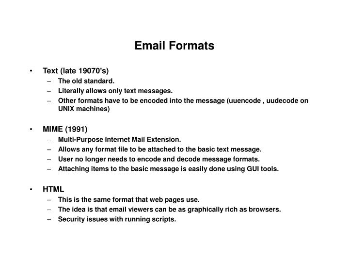 Email Formats