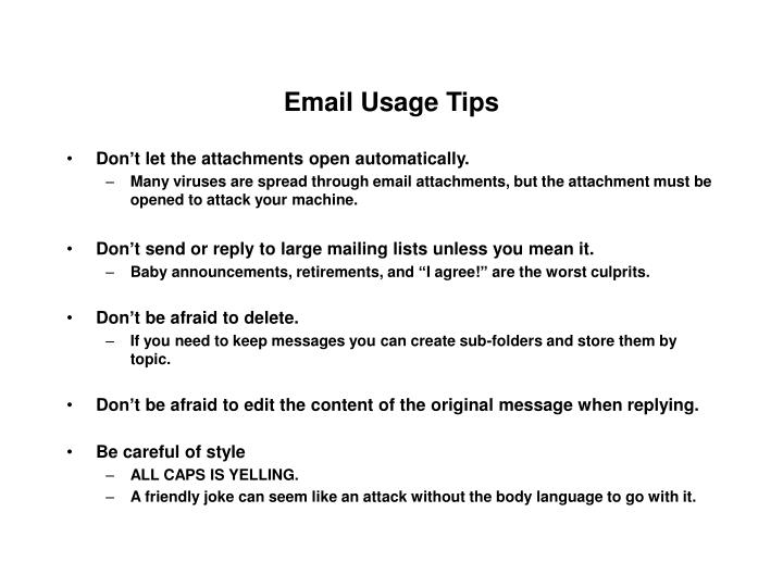 Email Usage Tips