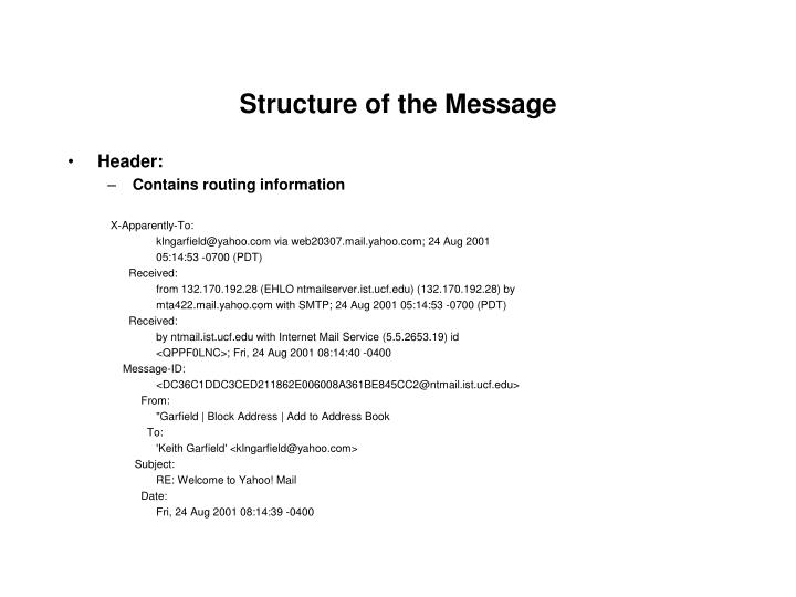 Structure of the message