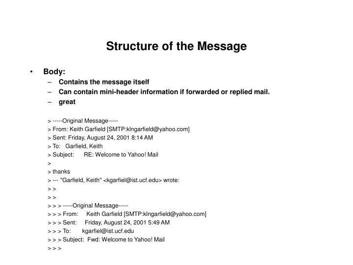 Structure of the message1