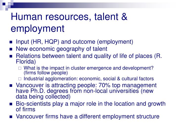 Human resources, talent & employment