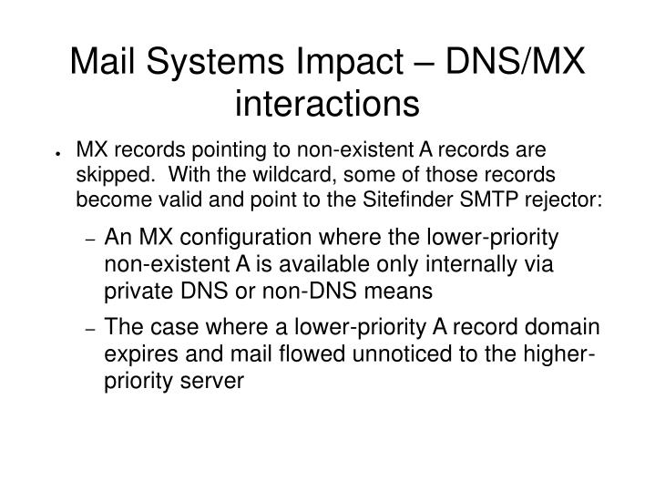 Mail Systems Impact – DNS/MX interactions