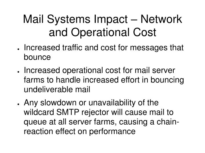 Mail Systems Impact – Network and Operational Cost
