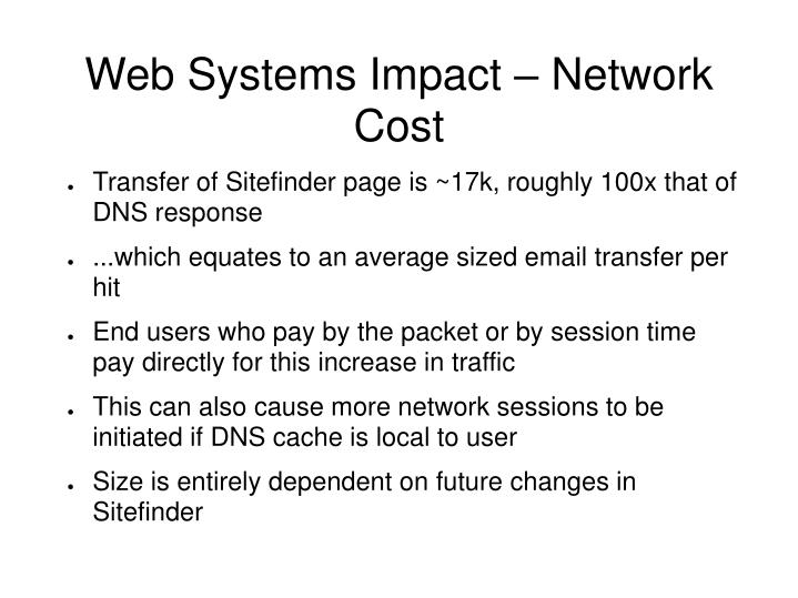 Web Systems Impact – Network Cost