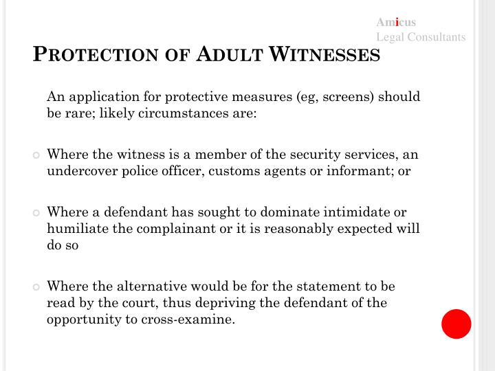 Protection of Adult Witnesses