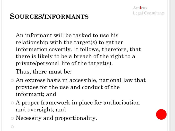 Sources/informants