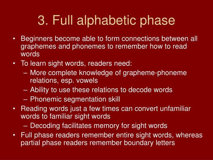 3. Full alphabetic phase