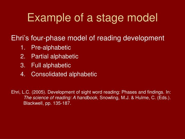 Example of a stage model