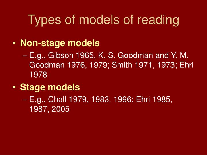 Types of models of reading