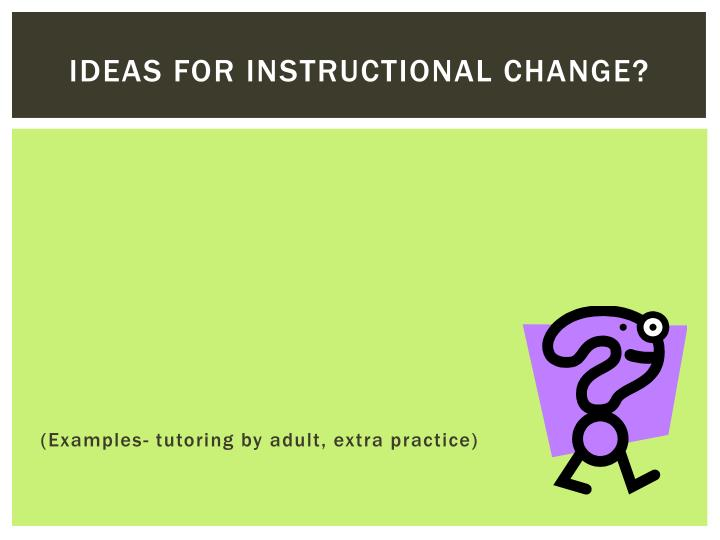 Ideas for instructional change?