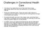 challenges in correctional health care