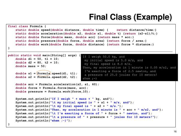 Final Class (Example)