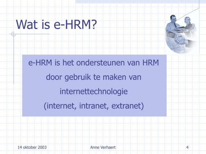 Wat is e-HRM?