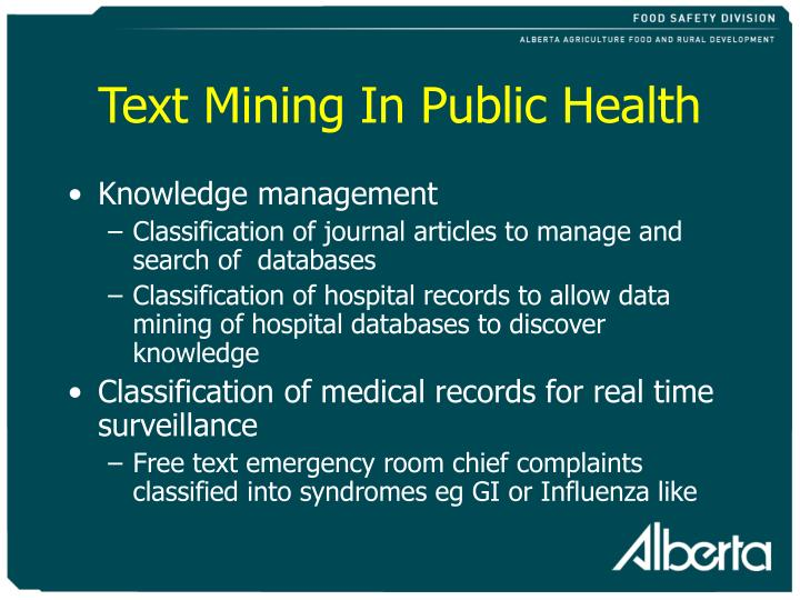 Text mining in public health