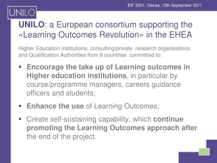 Unilo a european consortium supporting the learning outcomes revolution in the ehea