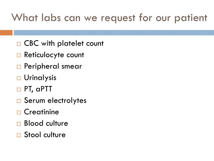 What labs can we request for our patient