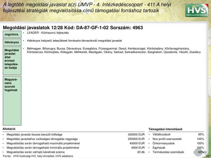 Megoldási javaslatok 12/28 Kód: DA-87-GF-1-02 Sorszám: 4963