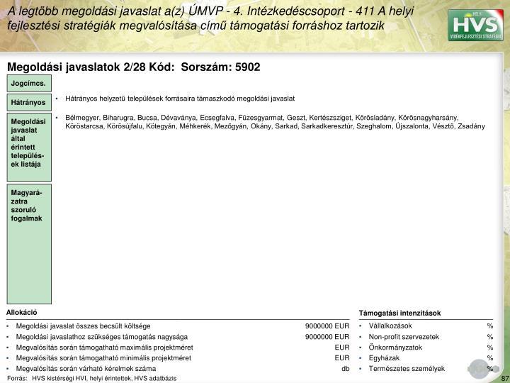 Megoldási javaslatok 2/28 Kód:  Sorszám: 5902