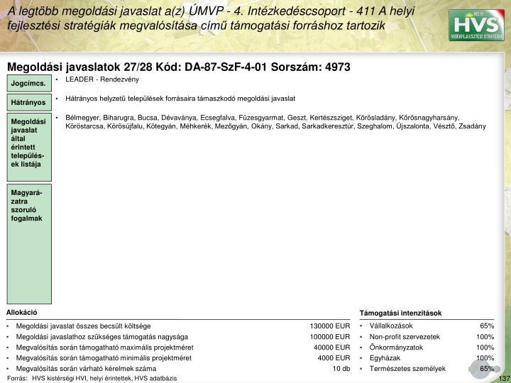 Megoldási javaslatok 27/28 Kód: DA-87-SzF-4-01 Sorszám: 4973