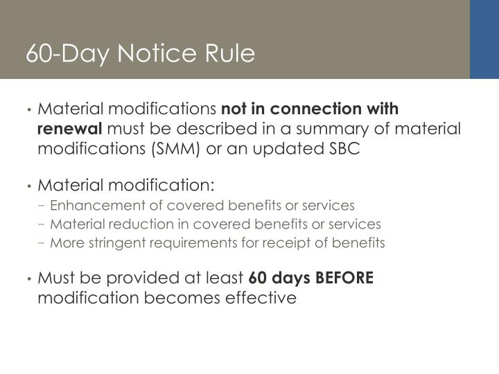 60-Day Notice Rule