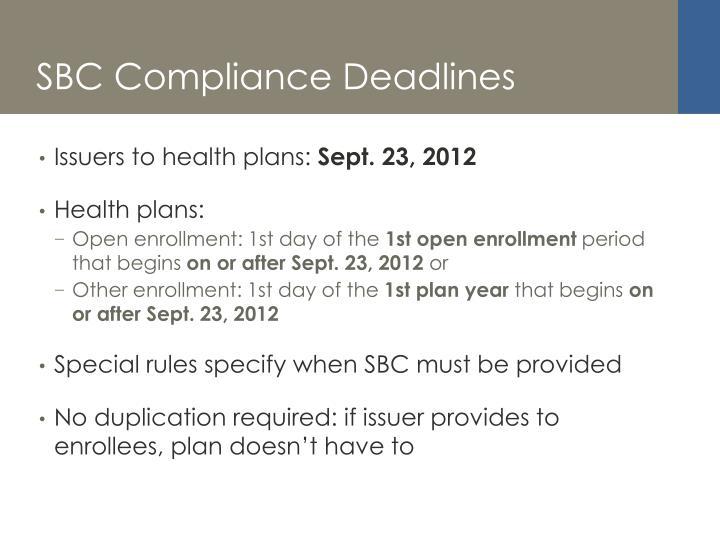 SBC Compliance Deadlines