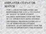 employer co pay or match