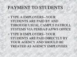 payment to students