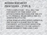 reimbursement processes type b