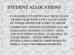 student allocations
