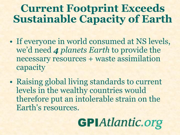 Current Footprint Exceeds Sustainable Capacity of Earth