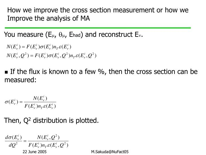 How we improve the cross section measurement or how we