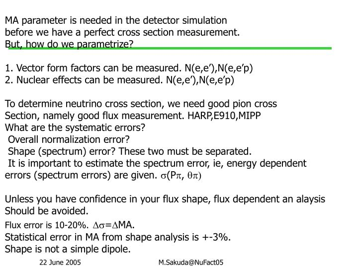 MA parameter is needed in the detector simulation
