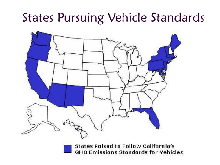States Pursuing Vehicle Standards