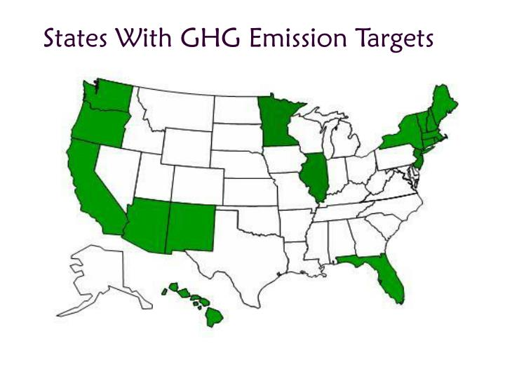 States With GHG Emission Targets