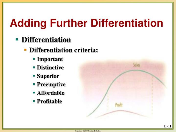 Adding Further Differentiation