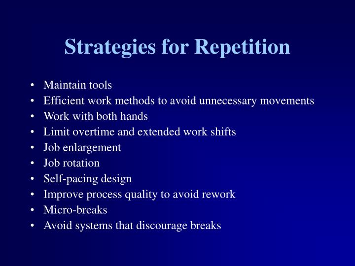 Strategies for Repetition