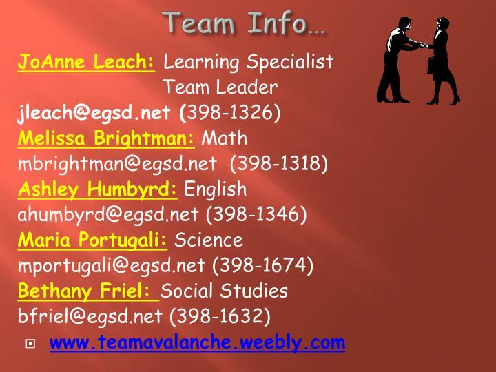 Team Info…